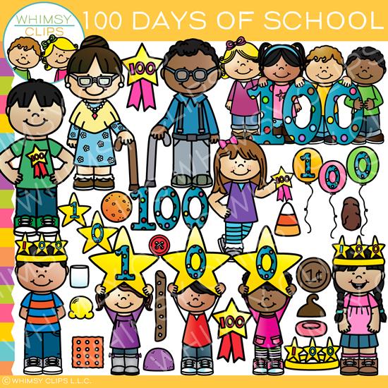 One Hundred Days of School Clip Art.