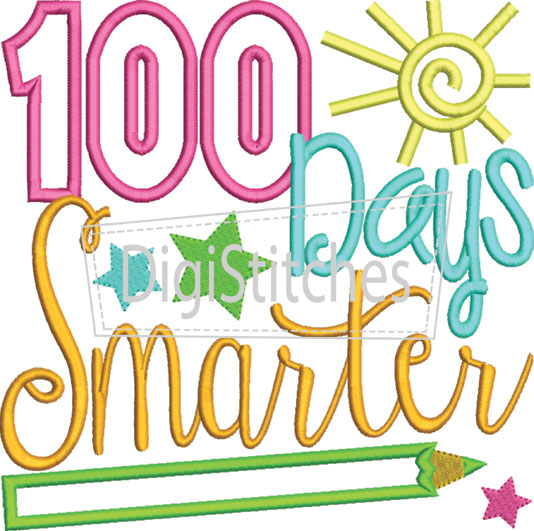 100 Days Smarter Girl Applique.