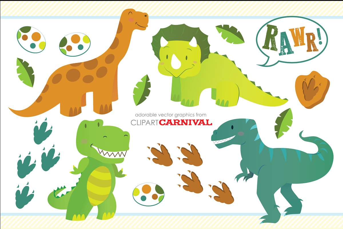 Cute Little Baby Dinosaurs Clipart.