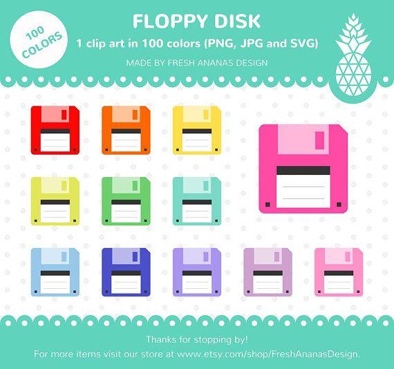 100 Colors Clip Art: Floppy Disk, Floppy Disk Clipart.