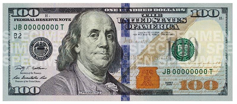 100 U.S. dollar JB00000000T banknote, Benjamin Franklin.