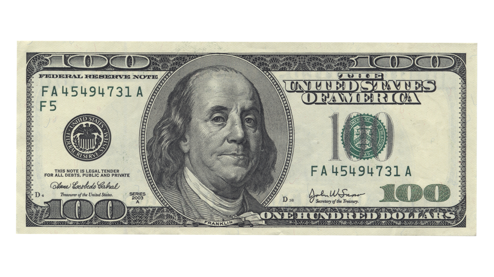 Benjamin Franklin United States one hundred.