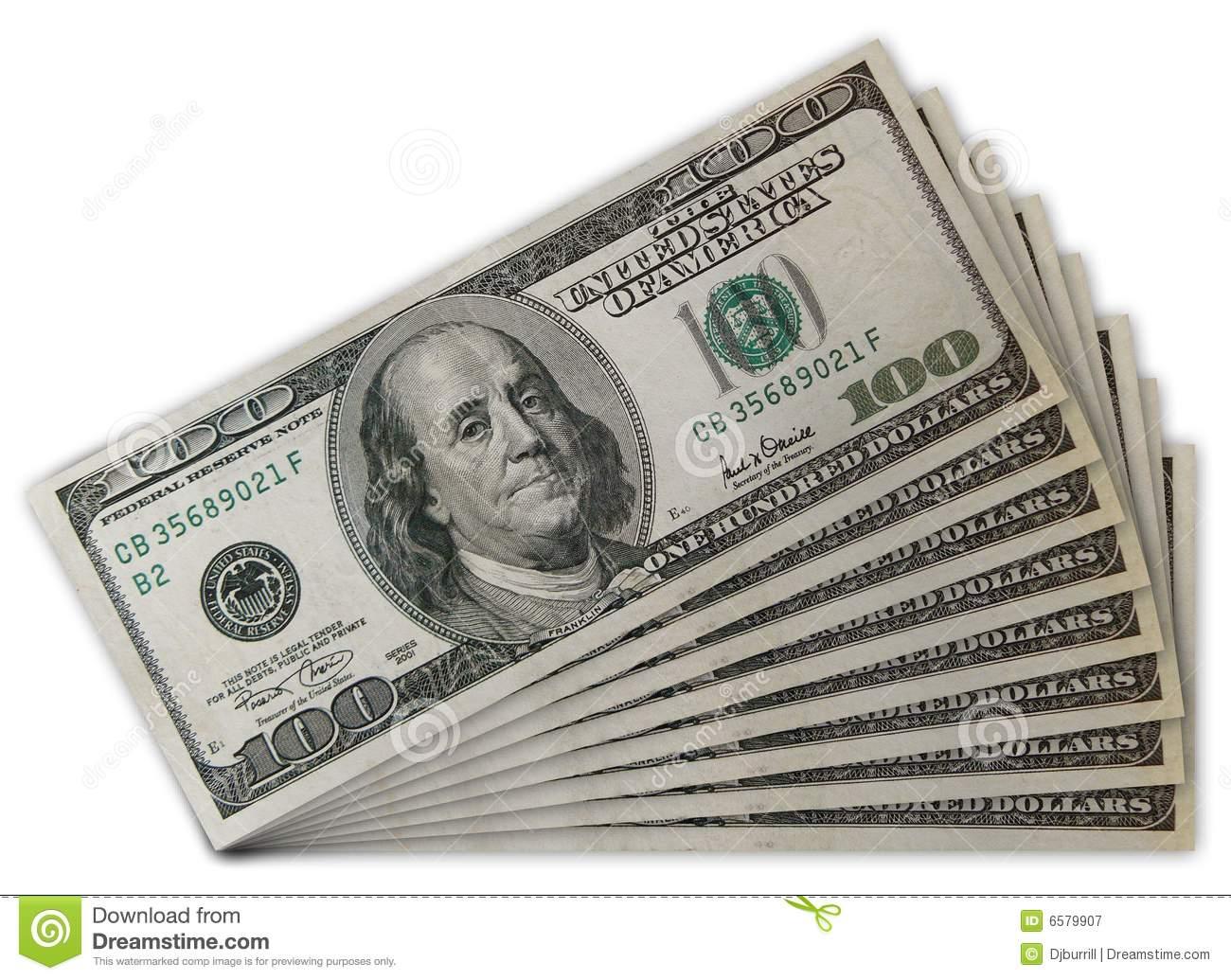 Stack Of US 100 Dollar Bills Stock Image.