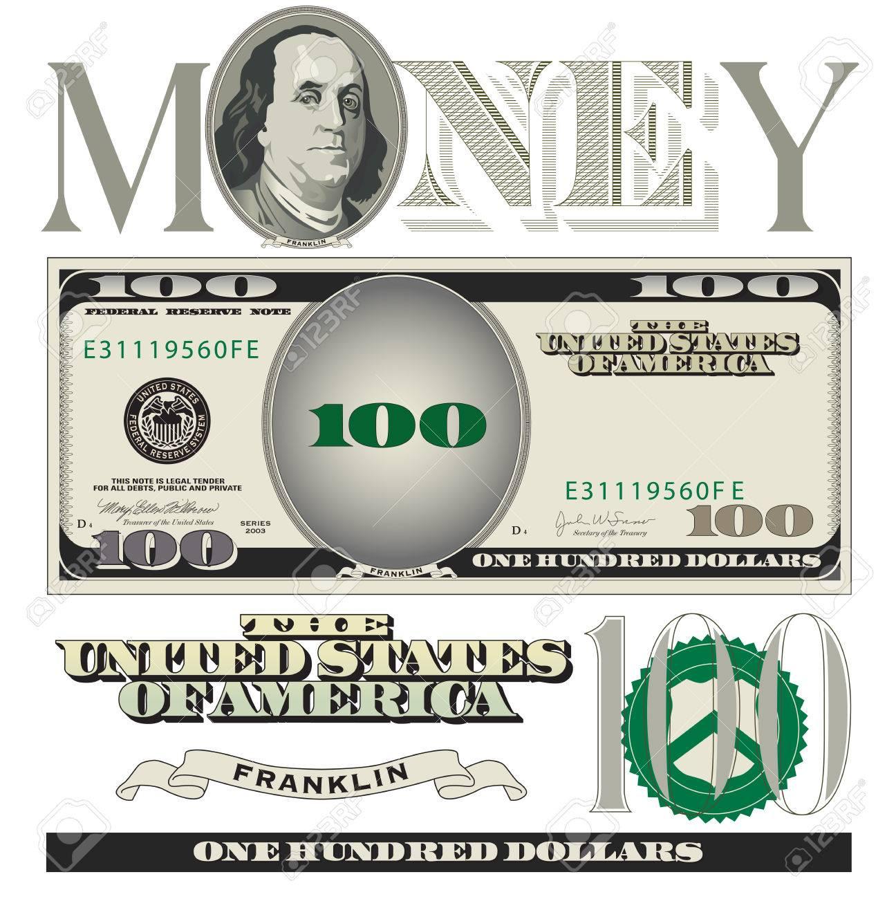 Miscellaneous 100 dollar bill elements.