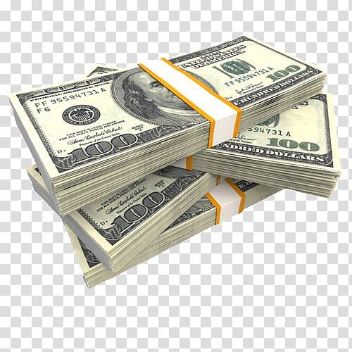 Four bundles of 100 U.S. dollar banknotes, United States Dollar.