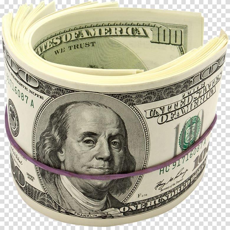 Bundle of 100 US dollar banknote, Benjamin Franklin United States.
