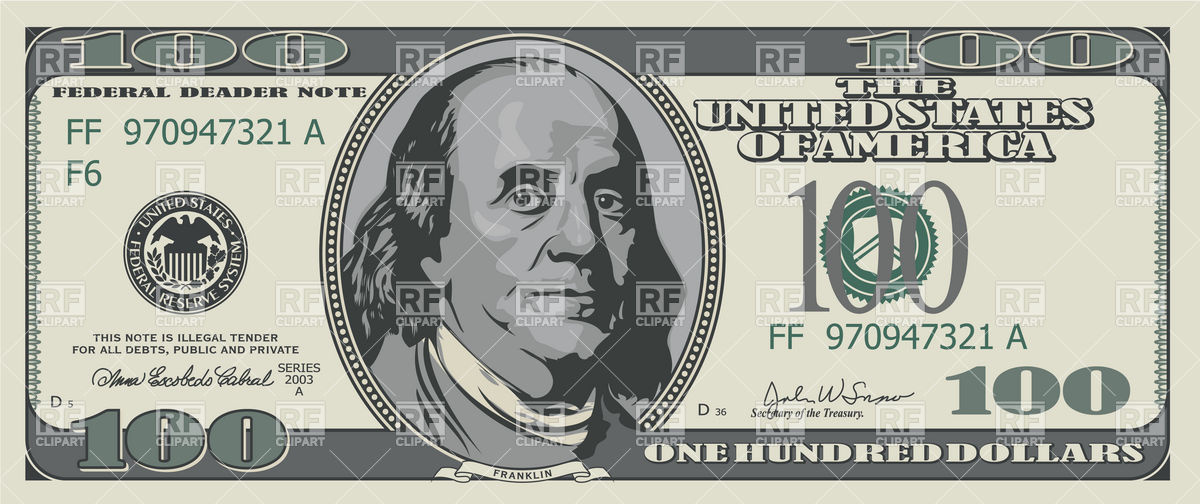 One hundred dollars banknote Stock Vector Image.