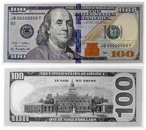 images of new hundred dollar bill.