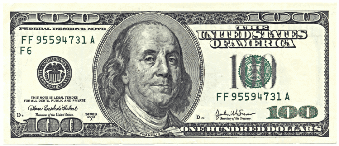 100 Dollars Png 1 Vector, Clipart, PSD.