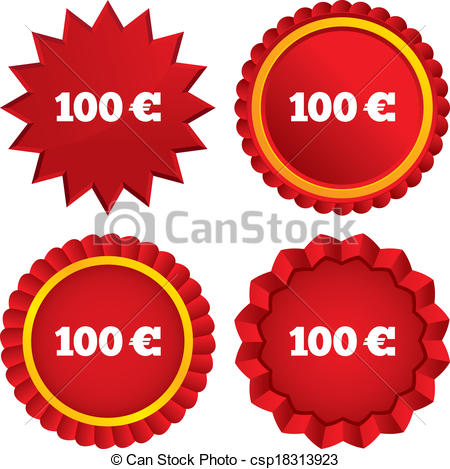 Vector Illustration of 100 Euro sign icon. EUR currency symbol.