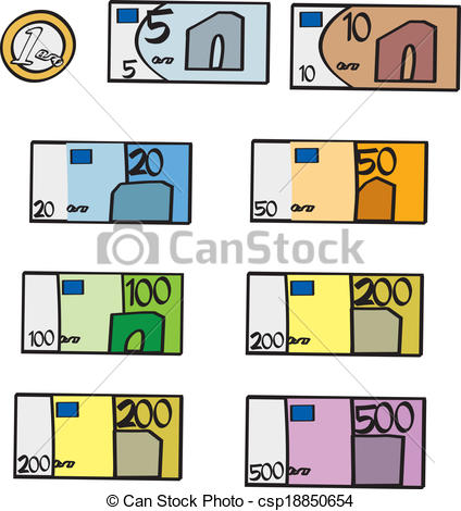 Clipart Vector of Cartoon Euro Bills and Coin.