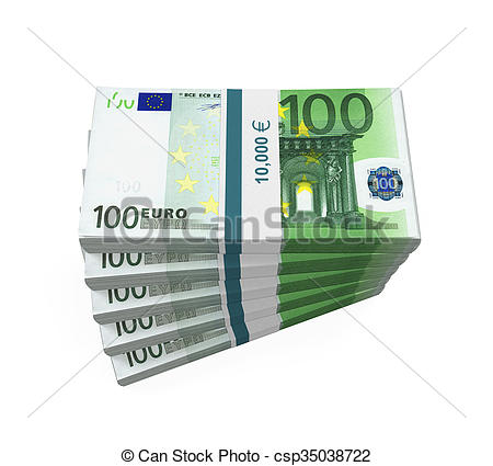 Clip Art of Stacks of 100 Euro Banknotes isolated on white.