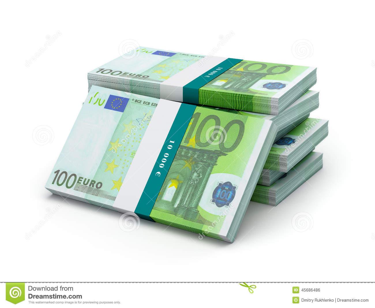 Stack 100 Euro Bills Stock Illustrations.