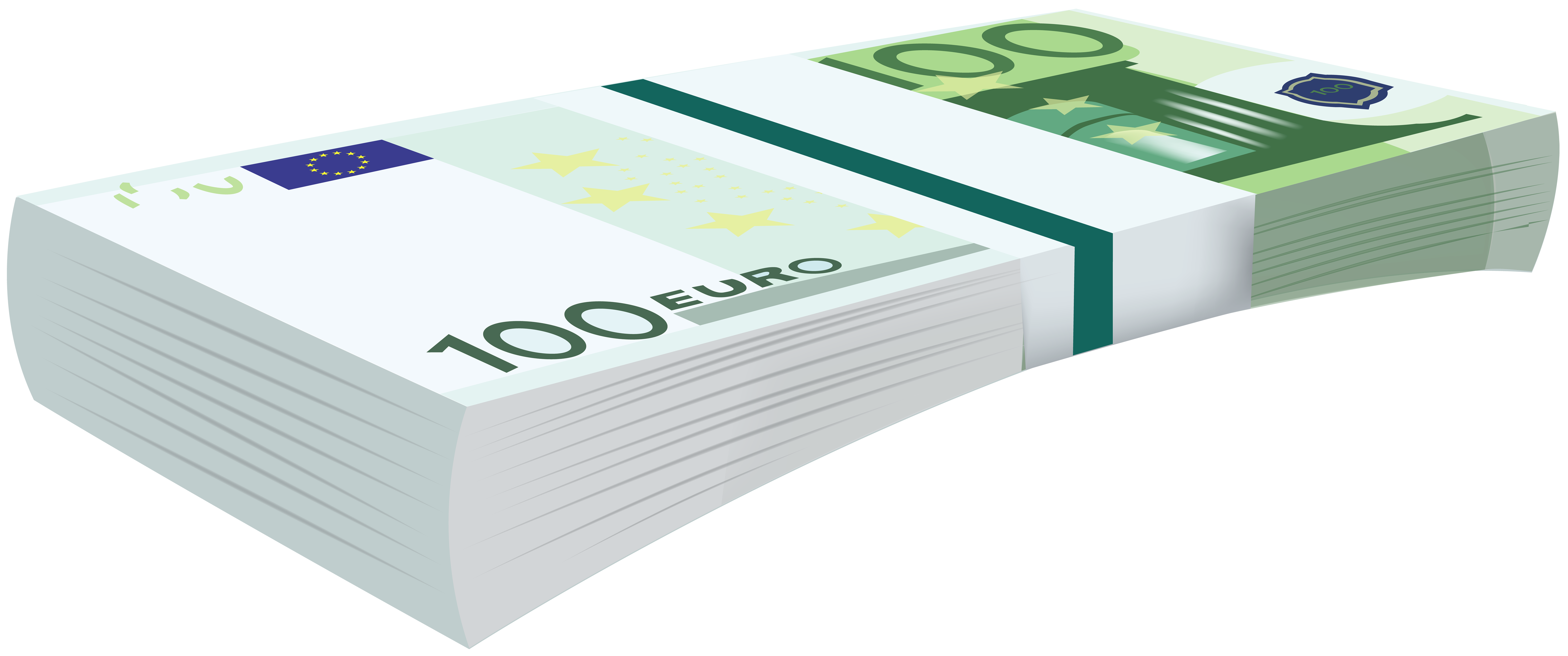 100 Euro Bundle Banknotes Transparent PNG Clip Art Image.