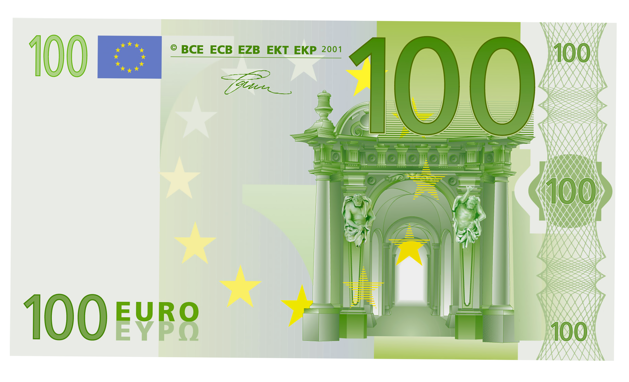 100 Euro PNG Clipart.