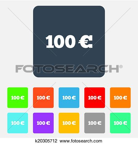 Clipart of 100 Euro sign icon. EUR currency symbol. k20305712.