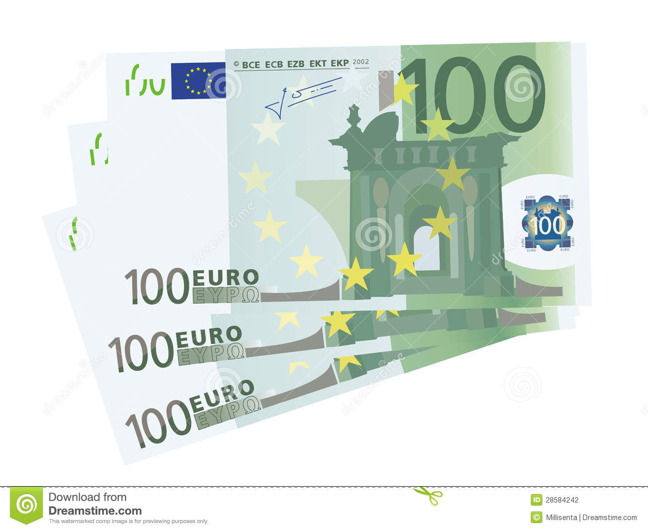 Vector Drawing Of A 3x 100 Euro Bills (isolated) Stock Vector.