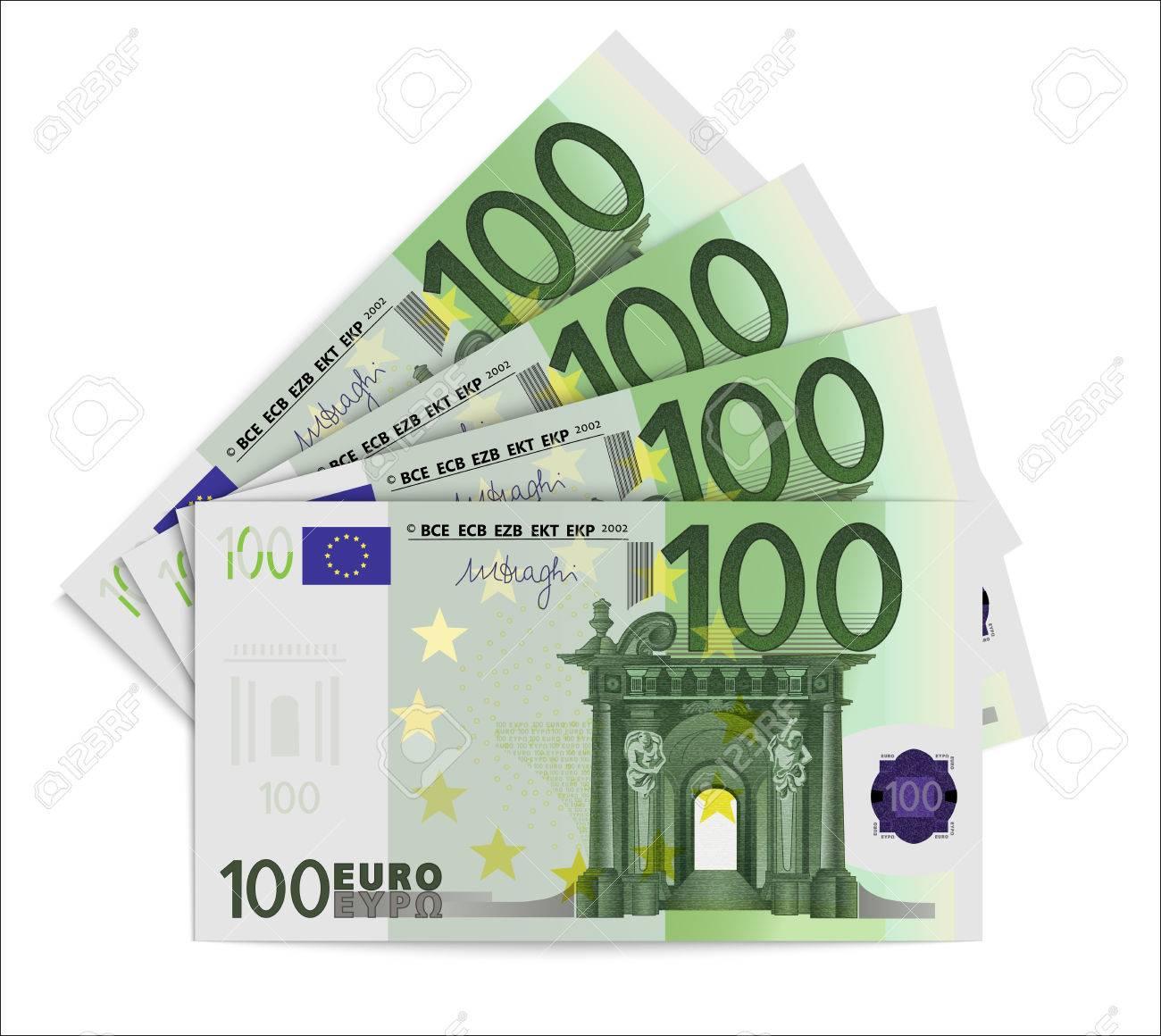 100 Euro Bills. One Hundred Euro Notes Isolated On White Background.