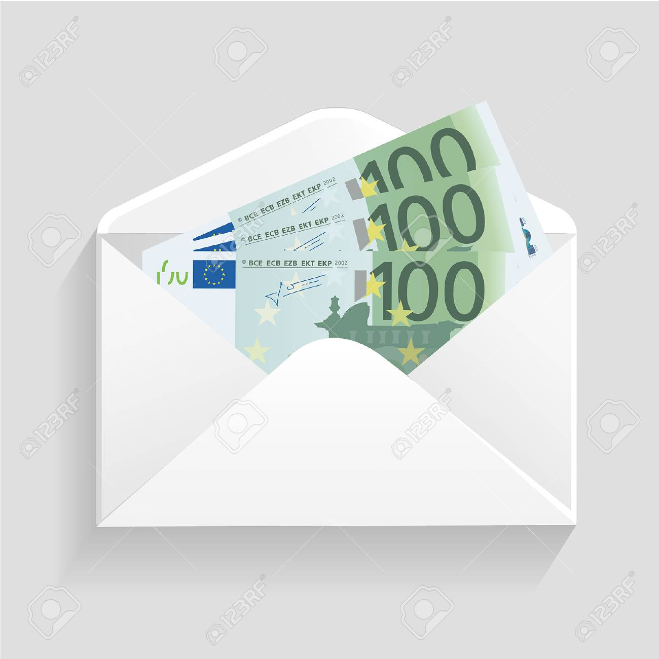 Open Envelope And 100 Euro Bills Cash Royalty Free Cliparts, Vectors.