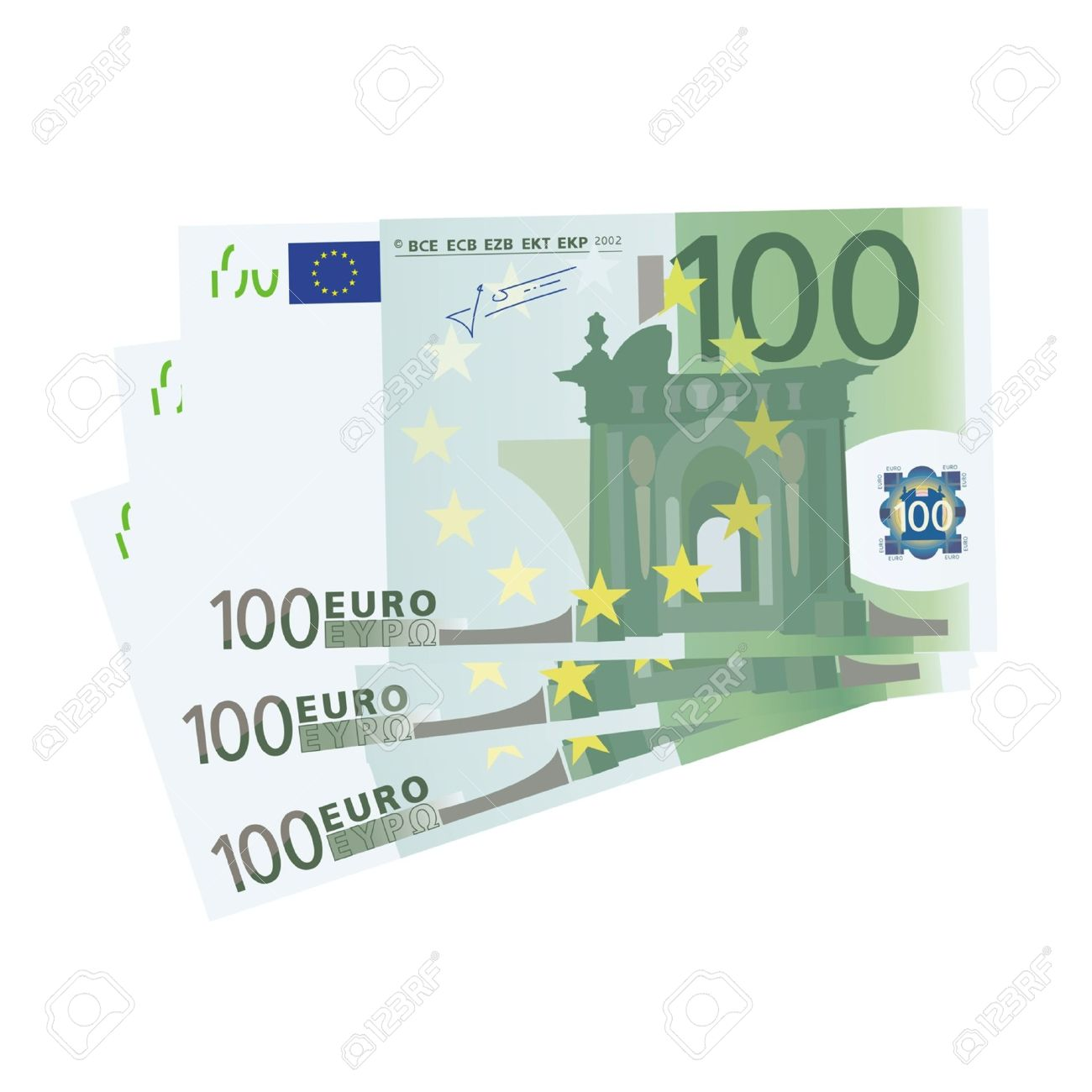 Drawing Of A 3x 100 Euro Bills (isolated) Royalty Free Cliparts.