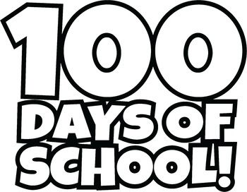 FREE 100 Days of School Clipart / Happy 100th Day of School.