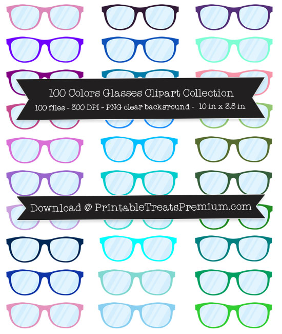 100 Colors Glasses Clipart Collection.