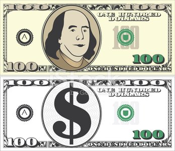 Modern 100 one hundred Dollar Bill with Text Clipart Image.