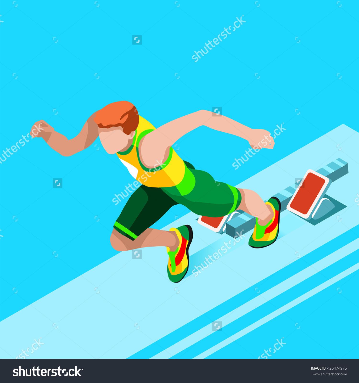 Running 100 Metres Dash Athletics 2016 Stock Illustration.