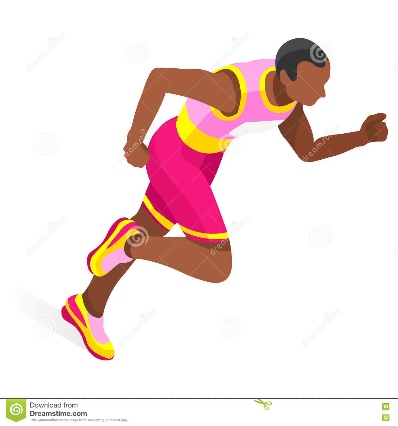 Running 100 Metres Dash Of Athletics Olympics Sports Icon Set.