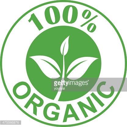 100% Organic symbol green color, vector Clipart Image.