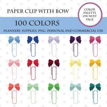 100 Paper Clip With Bow clipart, Paper clipart, Bow clipart, Bright and  pastel.