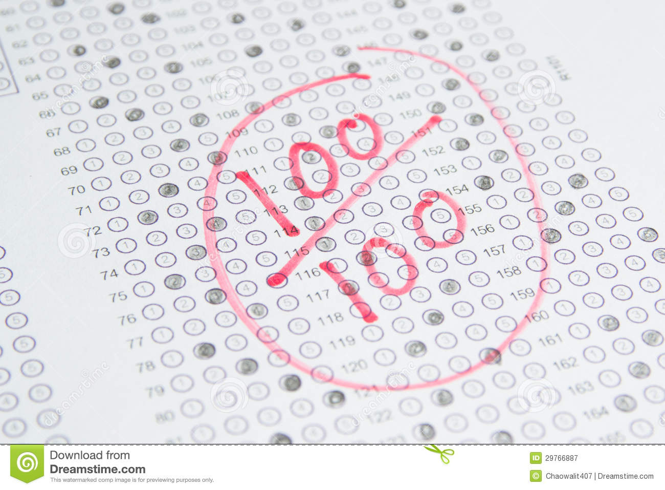 100 On Test Clipart.