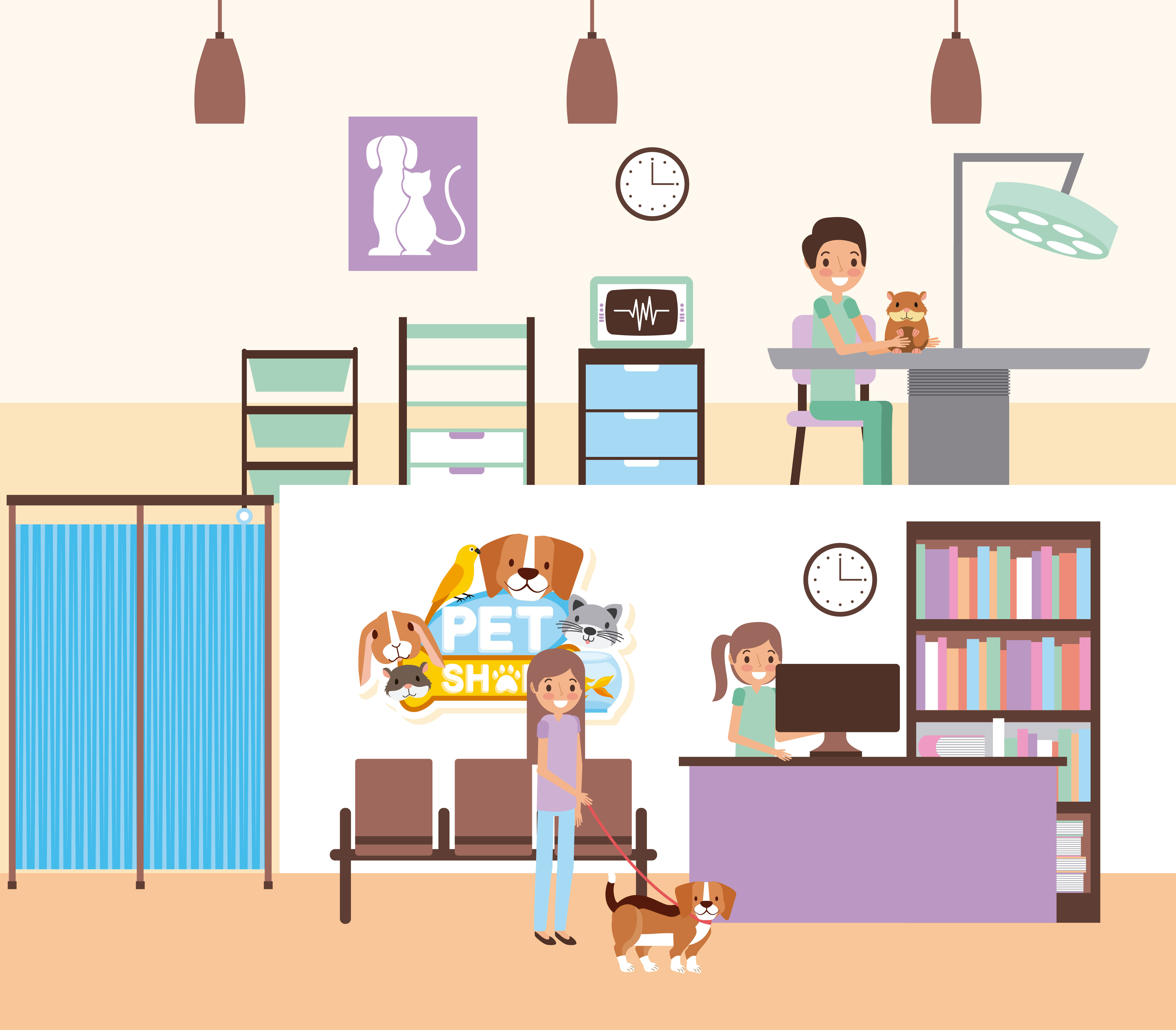 Veterinary office with people and pets.