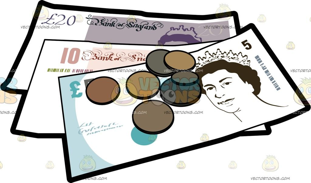 Brit Pound Bank Notes And Coins: A five ten and twenty.