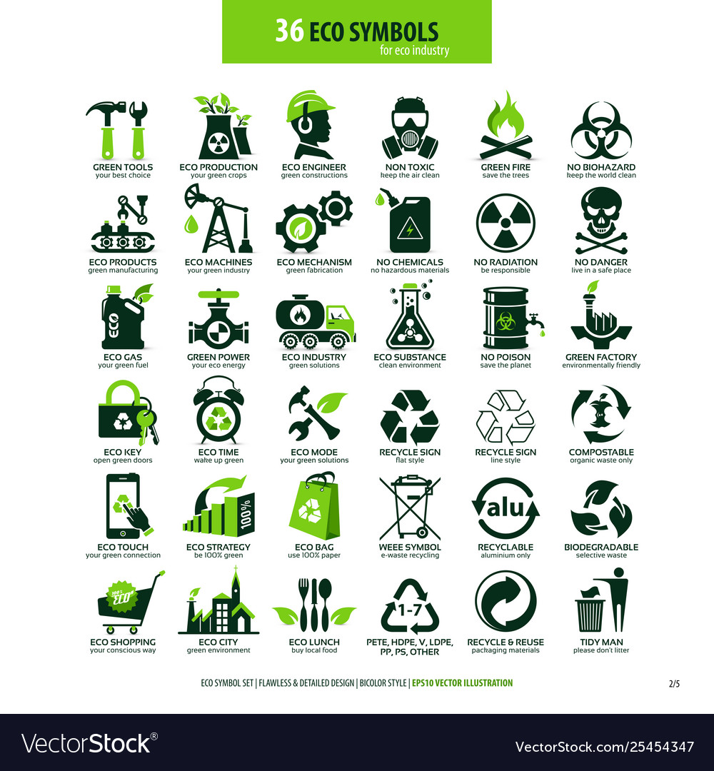 36 symbols for eco industry vector image.