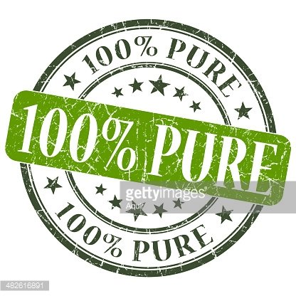 100% Pure Green Grunge Round Stamp ON White Background.