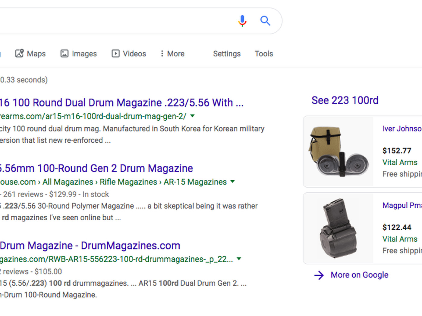Google shows shopping results for 100.