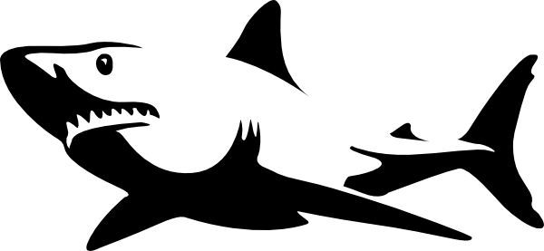 Pics For > Great White Shark Clipart Black And White.