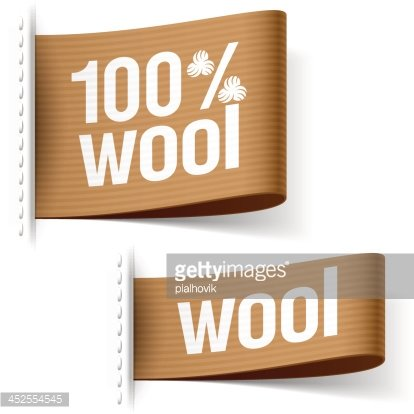 100% Wool Product Clothing Labels premium clipart.