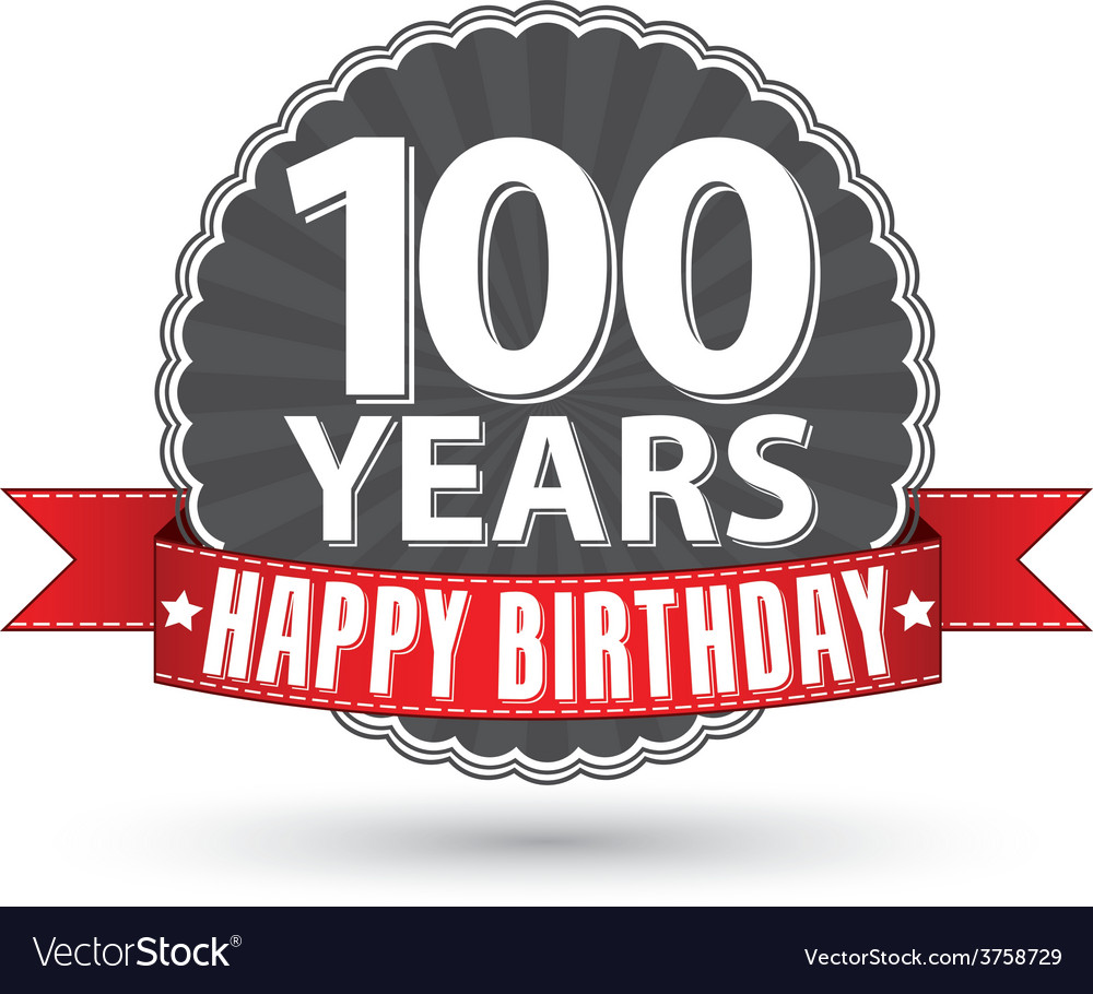 Happy birthday 100 years retro label with red.