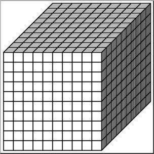 Clip Art: Place Value Blocks B&W 1000.