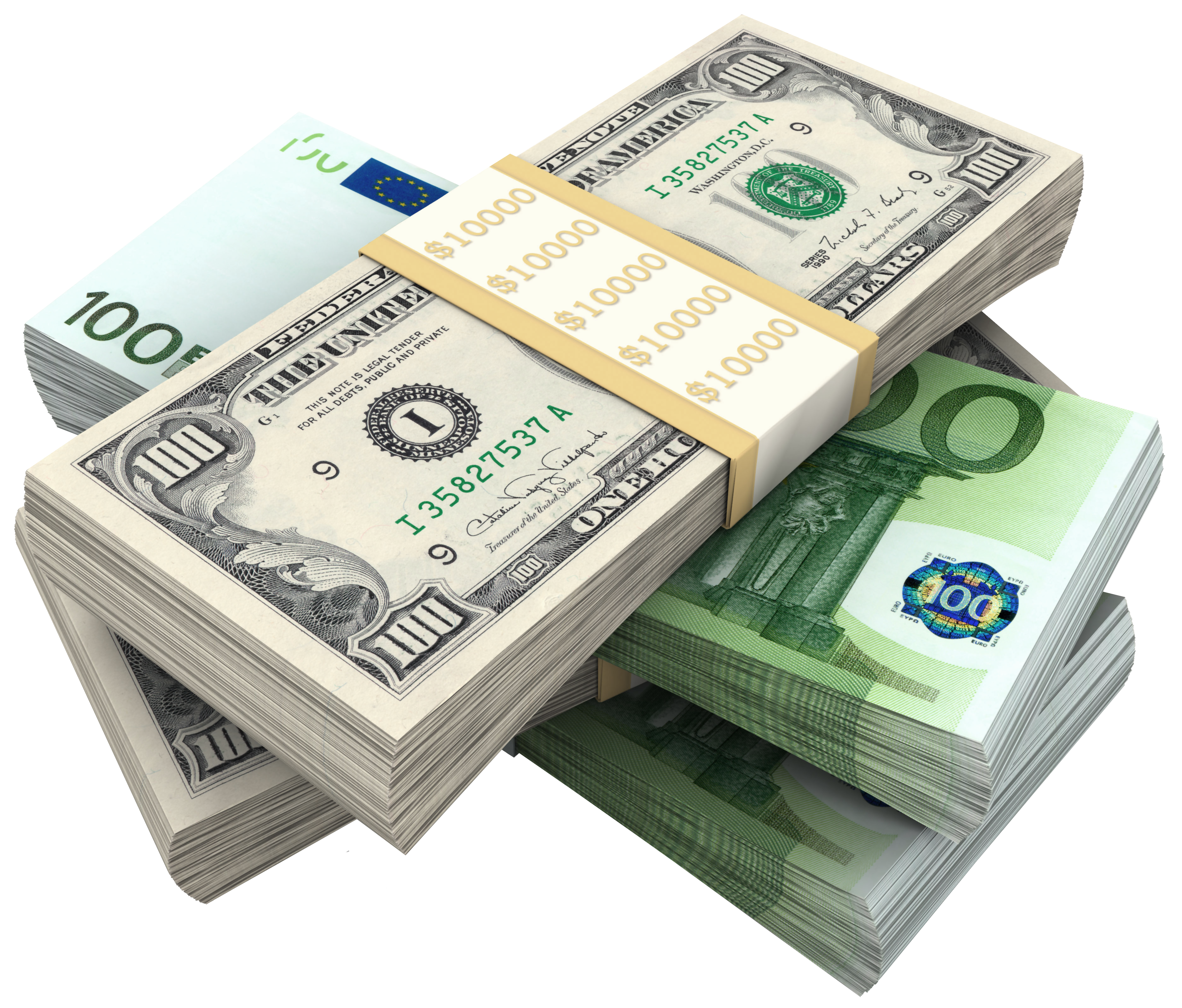 Bundles Of Dollars and Euro PNG Clipart Picture.