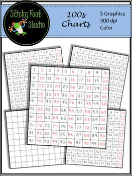 100s Charts Clip Art For Math.