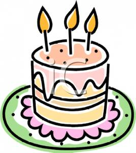 Royalty Free Clipart Image: A Tall Birthday Cake.
