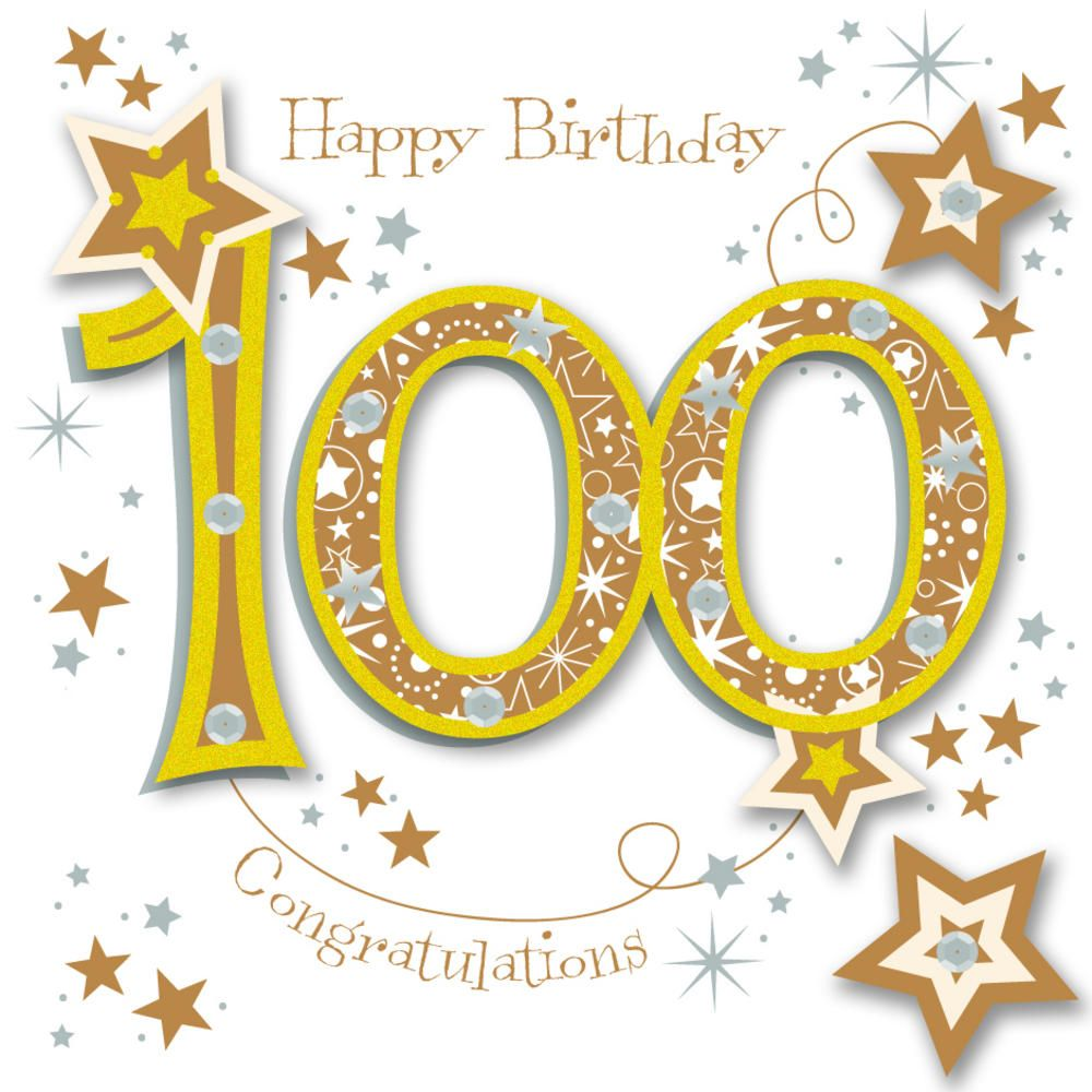 Happy 100th Birthday Handmade Embellished Greeting Card.