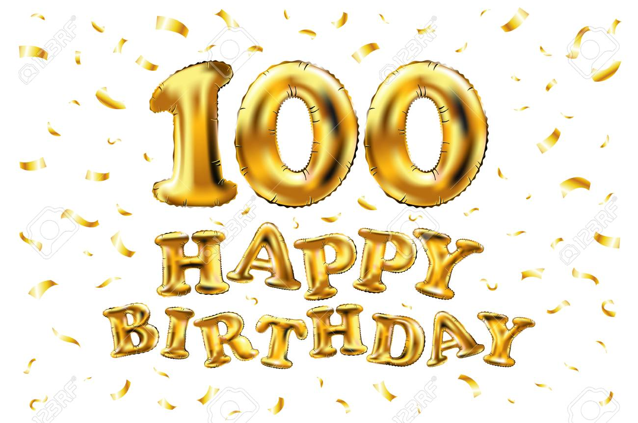 Happy 100th Birthday Celebration Banner With Gold Balloons And.