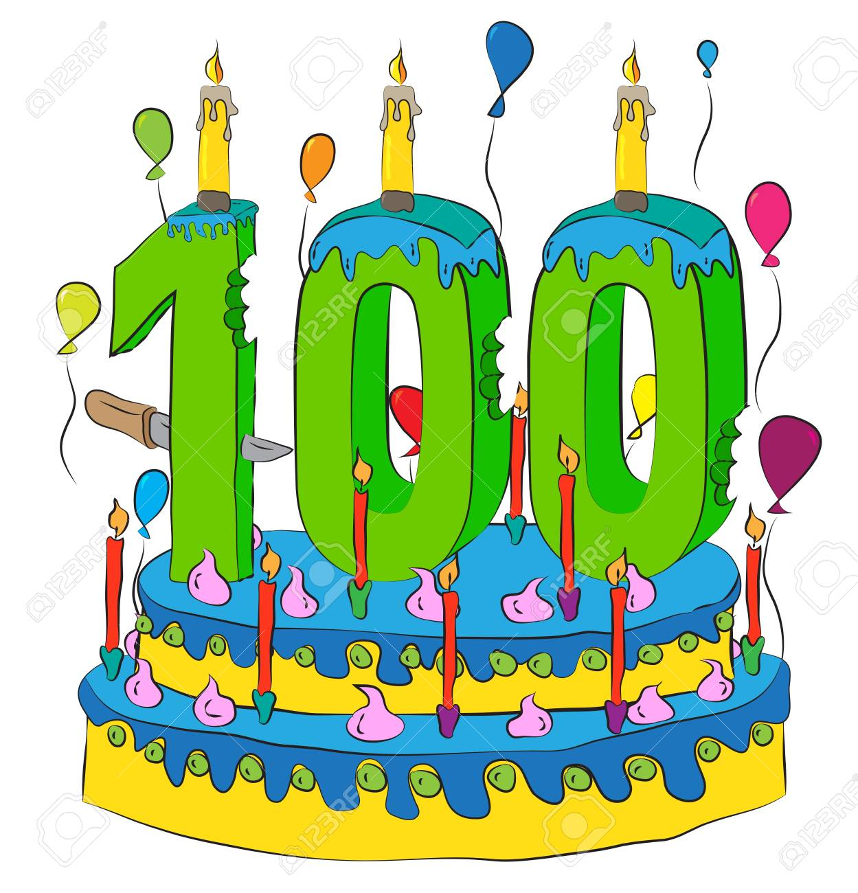 100 Birthday Cake With Number Hundred Candle, Celebrating Hundredth.