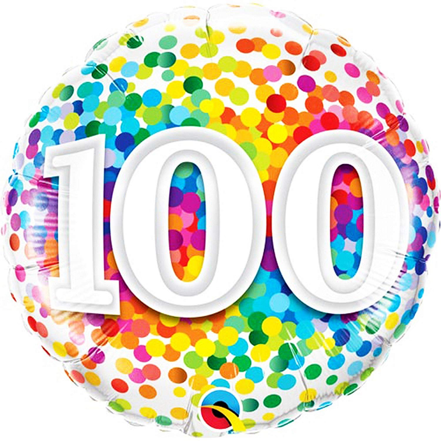 Amazon.com : Qualatex 18 Inch 100th Birthday Rainbow Confetti Circle.