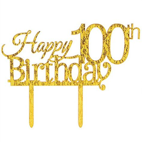 INNORU ™ Happy 100th Birthday Cake Topper.