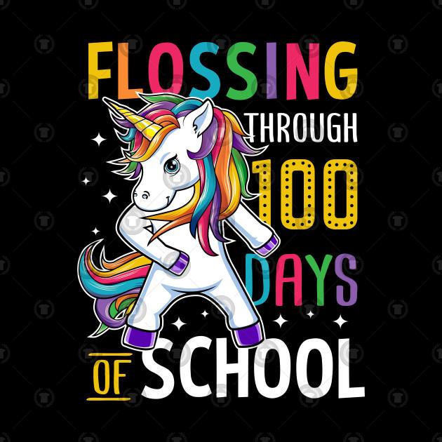Unicorn Happy 100 Days Of School Students Teacher.